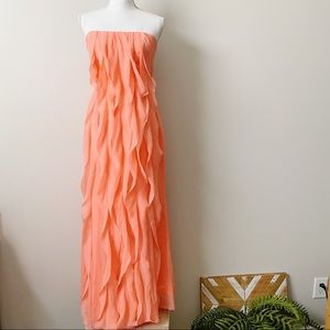 White x Vera Wang Crinkle Chiffon Dress in Coral